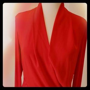 Bebe Hot Red Silk Blend Top